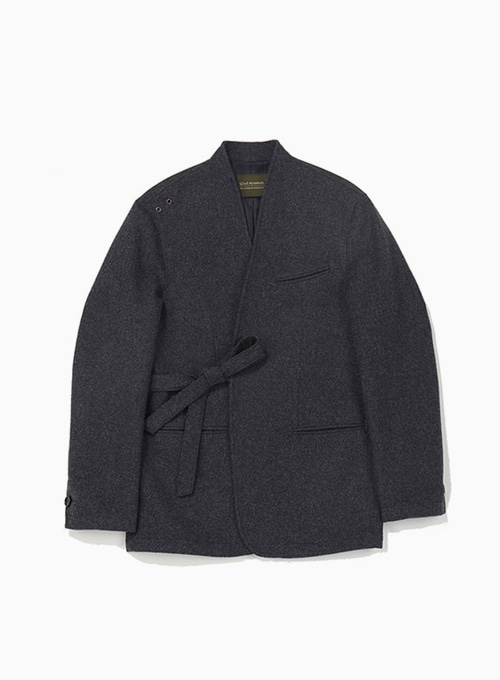 QUIET WOOL TIED JACKET (CHARCOAL GREY)