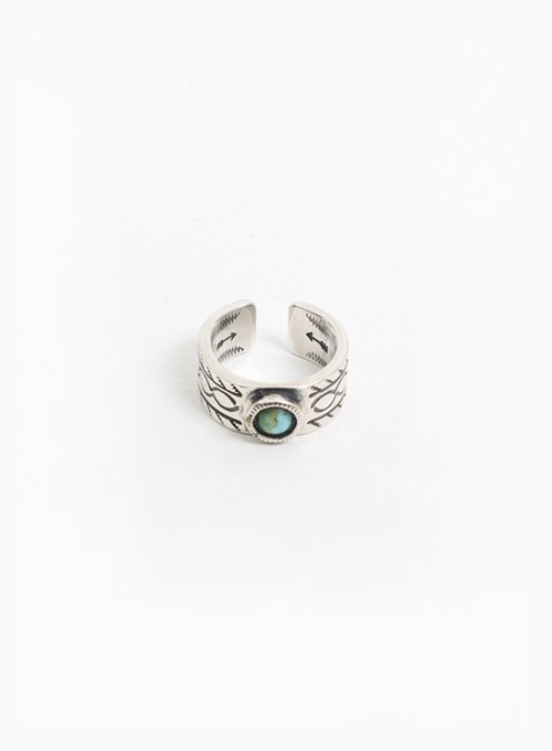 900 SILVER TURQUOISE STAMP RING (W-320C)