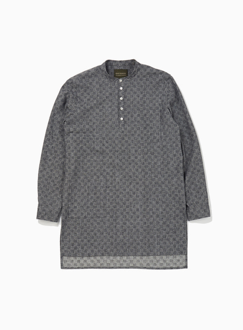 PATCHWORK BLOCK RAGMAN SHIRT (CHARCOAL GREY)