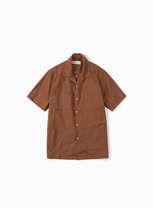 4P OPEN COLLAR SHIRT (RED BROWN)