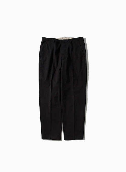 WASHED TAPERED PANTS (BLACK)[ORGANIC COTTON SOFT CHINO CLOTH]