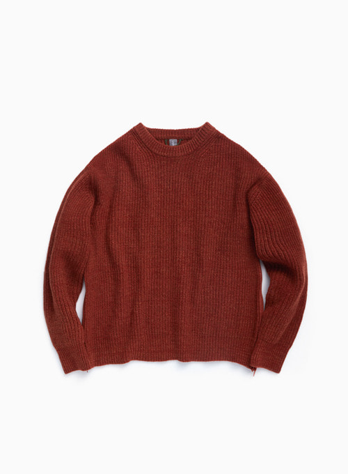 OVERSIZED CREWNECK KNIT (BURNT ORANGE MELANGE)