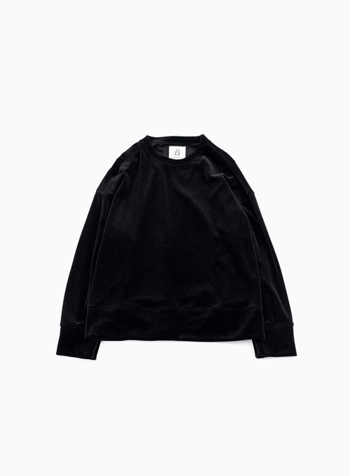 WIDE VELOUR PULLOVER (BLACK)