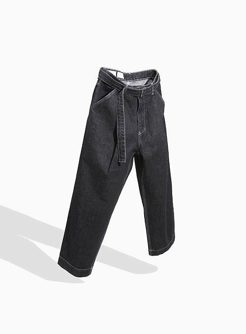 BELTED DENIM PANTS (WASHED BLACK)