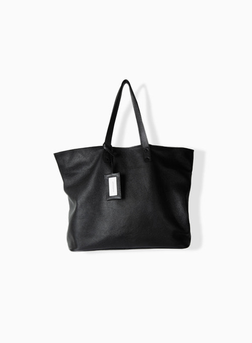 LEATHER SHOPPER BAG (BLACK)