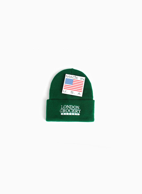 W.F.M LOGO EMBROIDERED KNIT CUFF BEANIE (FOREST GREEN)