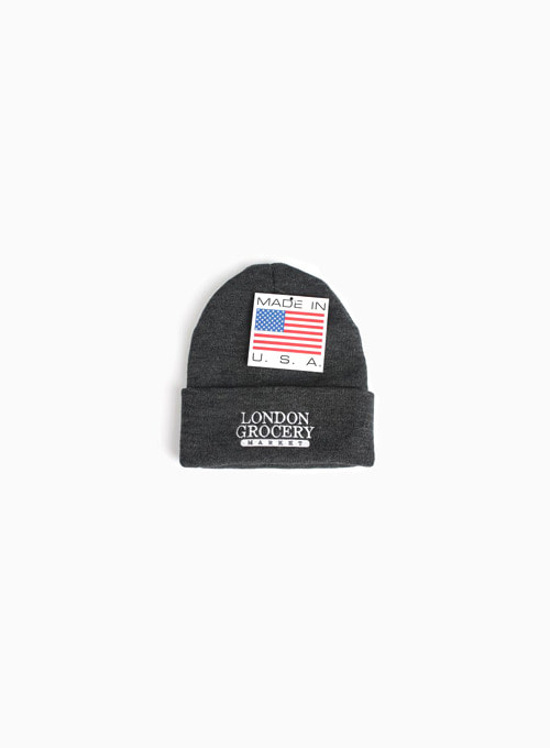 W.F.M LOGO EMBROIDERED KNIT CUFF BEANIE (GREY)