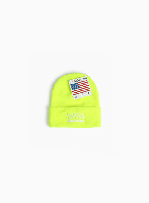 W.F.M LOGO EMBROIDERED KNIT CUFF BEANIE (LIME GREEN)