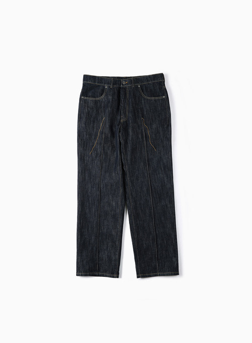 STITCHED CREASE DENIM PANTS (INDIGO)