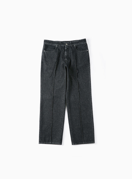 STITCHED CREASE DENIM PANTS (BLACK)