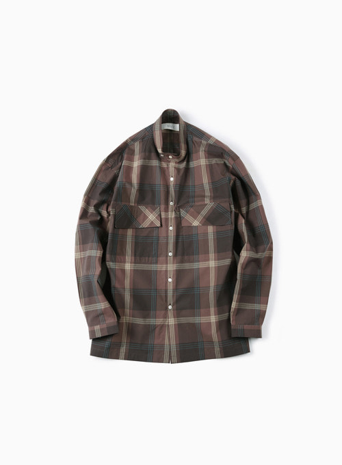 CHECKED BAND COLLAR SHIRT (BROWN)