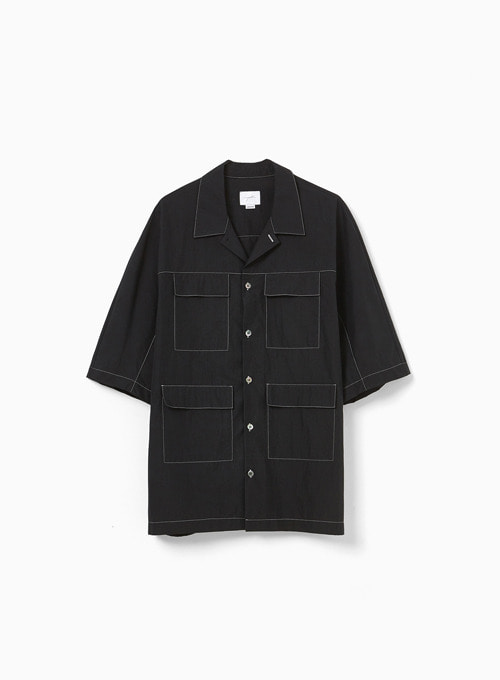 POCKET HALF SHIRT (BLACK)