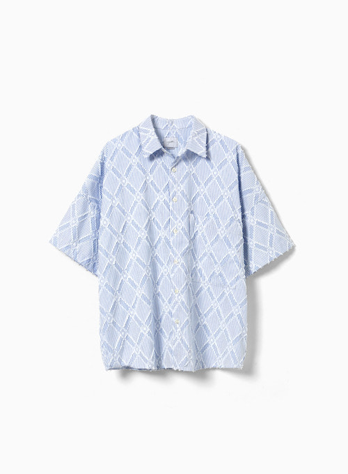 OVERSIZED HALF SHIRT (SKY BLUE)