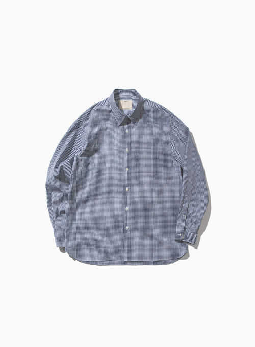 COMFORT SHIRT (NAVY CHECK)[COTTON TYPEWRITER CLOTH RESILIENT FINISH]