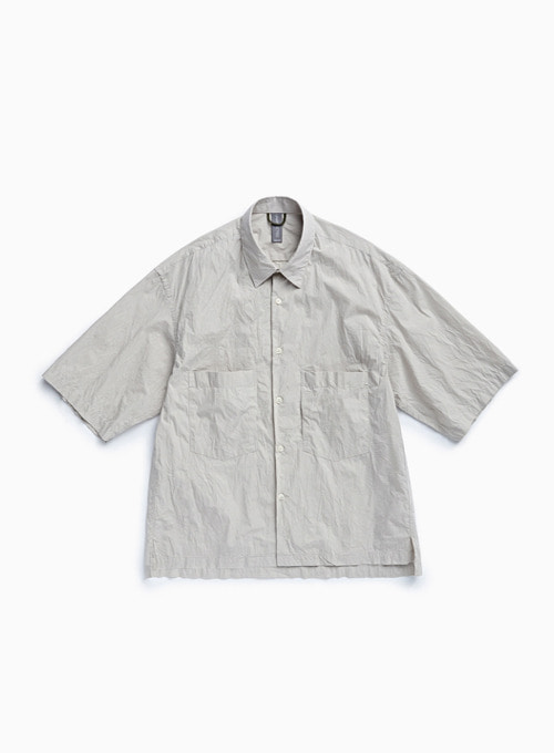 OVERSIZED HALF SHIRT (LIGHT GREY)