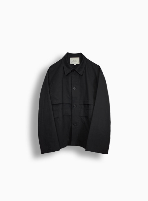 TEXTURED BUTTON BLOUSON (BLACK)
