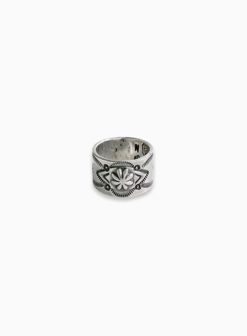 900 SILVER STAMP RING (W-021)