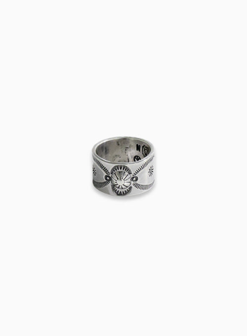 900 SILVER STAMP RING (W-020)