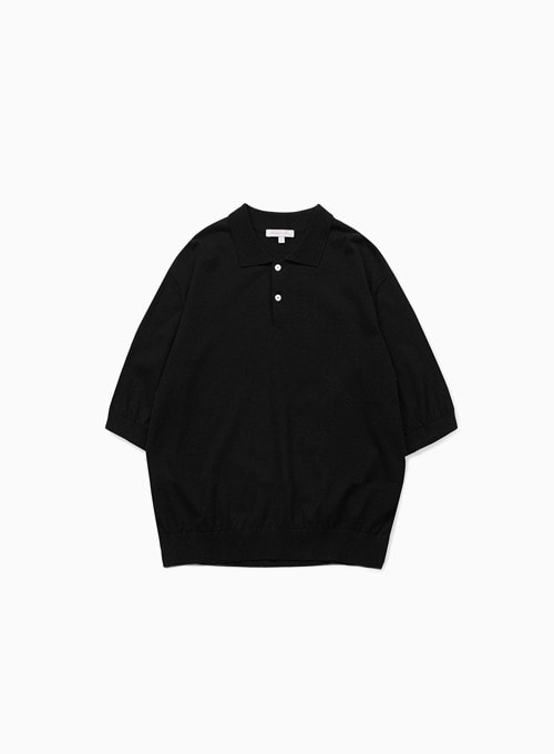 KNIT POLO SHIRTS (BLACK)