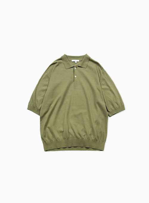 KNIT POLO SHIRTS (OLIVE)