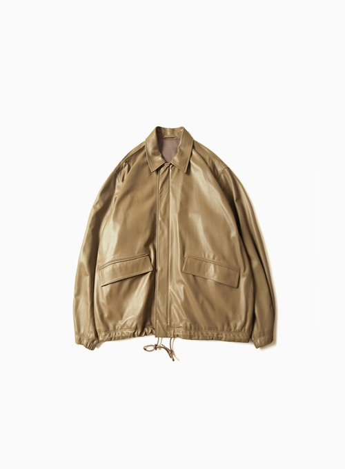 LEATHER FIELD JACKET (BEIGE)