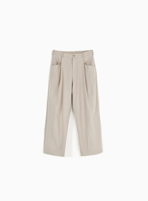 STRUCTURED WIDE PANTS (BEIGE)