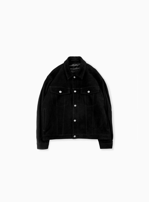 SUEDE TRUCKER JACKET (BLACK)