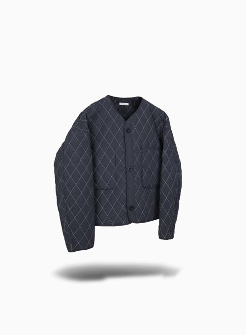 QUILTED CARDIGAN (NAVY)