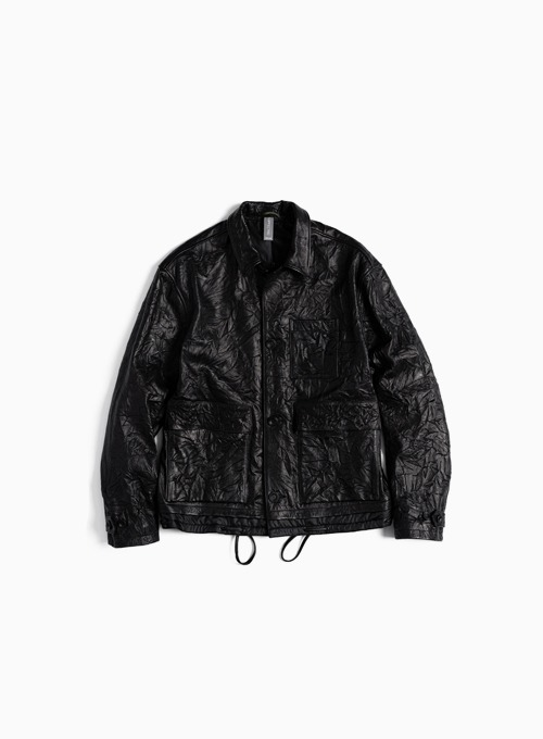 CONTRAST PANEL LEATHER JACKET (BLACK)