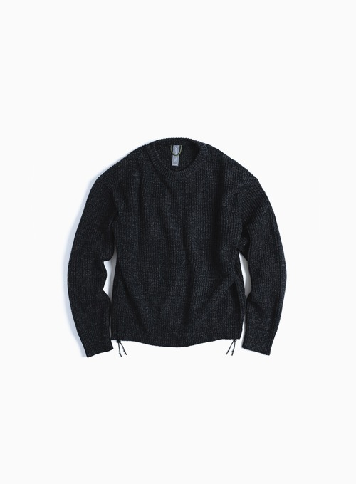 OVERSIZED CREWNECK KNIT  (BLACK MELANGE)