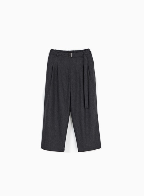 BELTED LOOSED PANTS (CHARCOAL GREY)