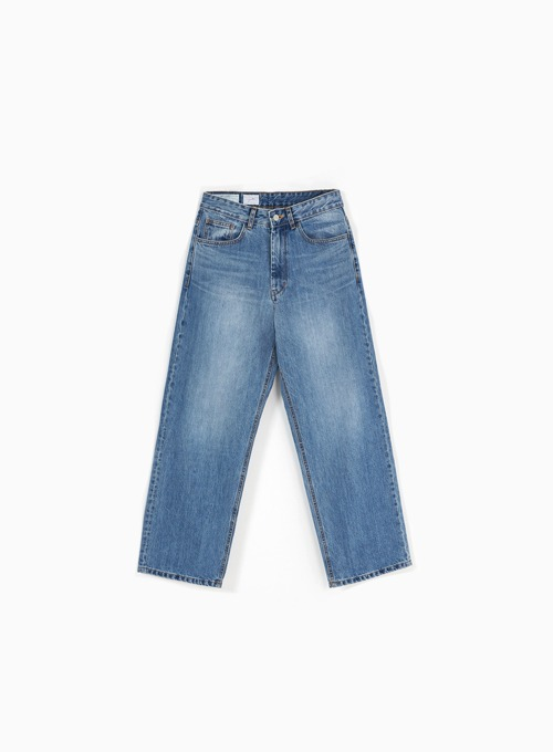 WIDE DENIM PANTS (MEDIUM BLUE)