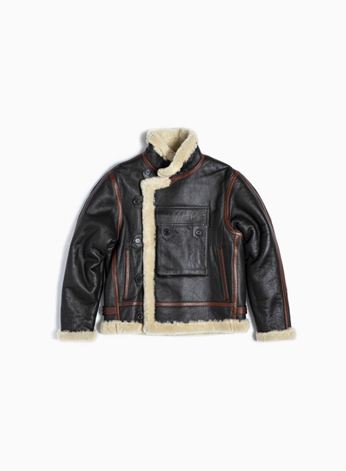 SHEARLING MOTORCYCLE JUMPER (BROWN LEATHER SHEEPSKIN)