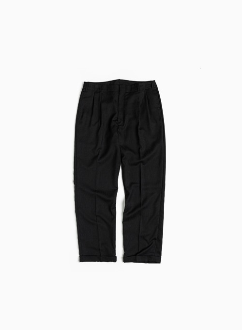 TWO TUCK WIDE PANTS (BLACK)