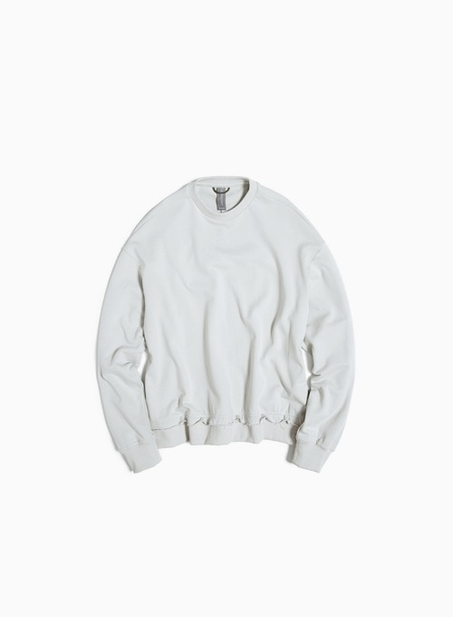 RAW EDGED CUT SWEATSHIRT (LIGHT GREY)