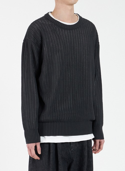 MESHED CREWNECK KNIT (BLACK)