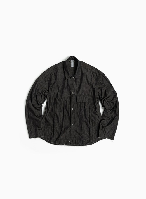 CROPPED TRUCKER SHIRT (BLACK)