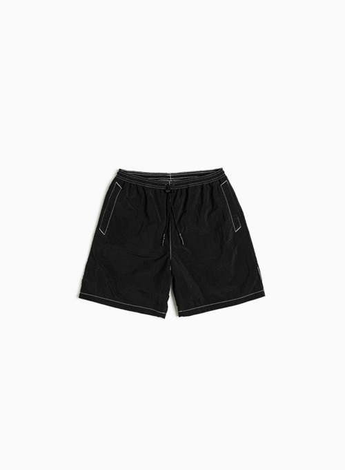 LOGO LABEL SWIM SHORTS (BLACK)