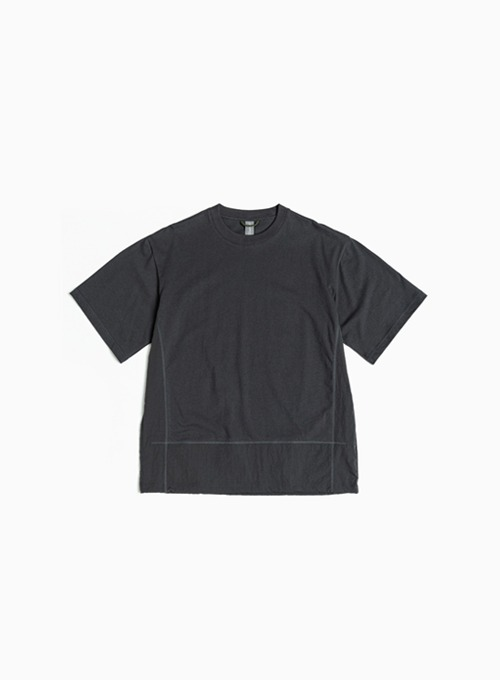 CONTRAST PANEL T-SHIRT (CHARCOAL BLUE)