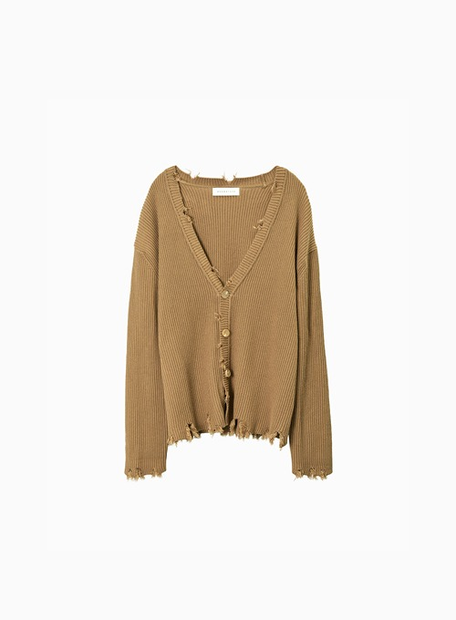 DAMAGE CARDIGAN (CAMEL)