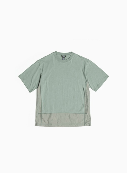 CONTRAST PANEL T-SHIRT (AQUA SMOKE)