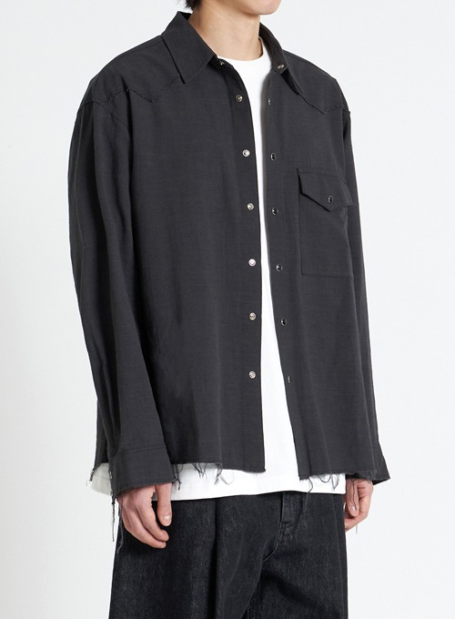 CUT-OFF WESTERN SHIRT (BLACK)