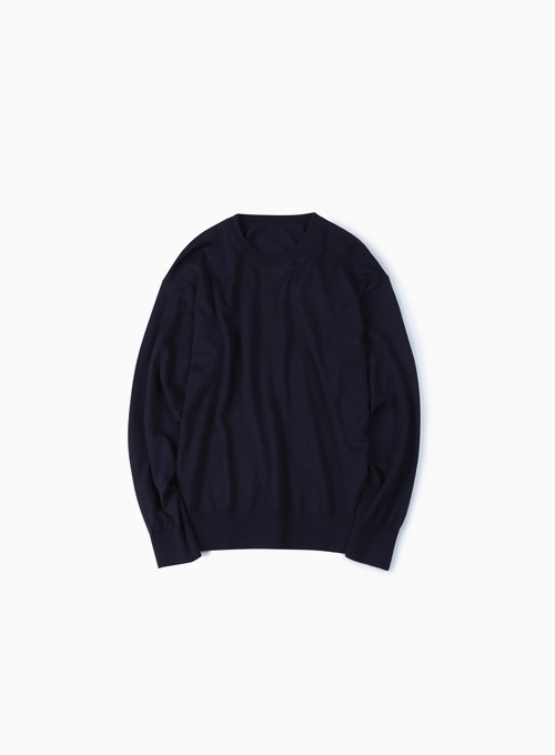 WASHABLE PURE WOOL CREW NECK KNIT (DARK NAVY)