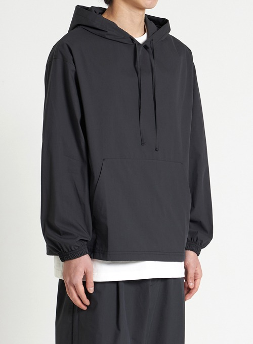 WOVEN HOODED SHIRT (BLACK)