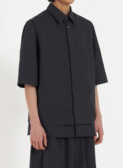 VEST LAYERED HALF SHIRT (BLACK)