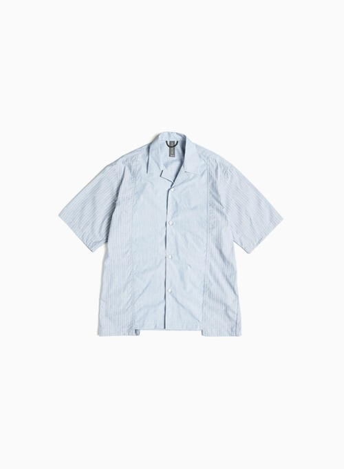CONTRAST PANEL HALF SHIRT (BLUE STRIPE)
