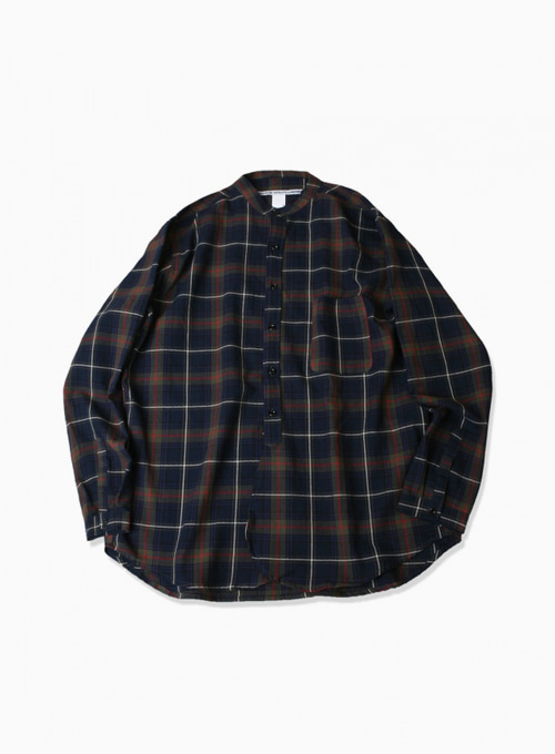 BAND-NECK WIDE SHIRTS (PLAID FLANEL)