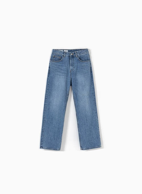 STRAIGHT DENIM PANTS (MEDIUM BLUE)