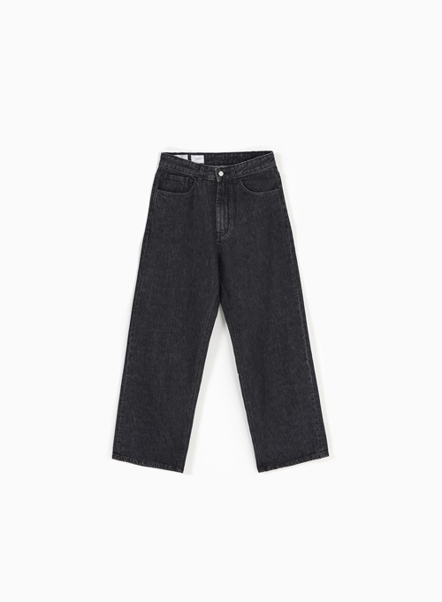 WIDE DENIM PANTS (WASHED BLACK)