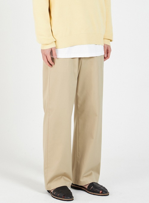 WIDE CHINO PANTS (BEIGE)